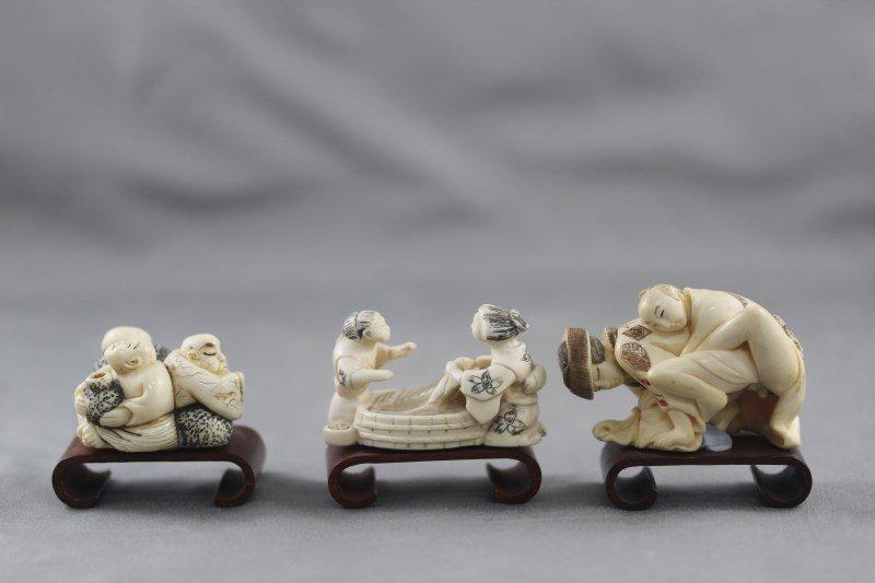 Three Okimono Figure Groups,