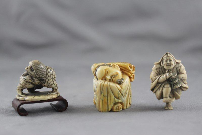 Three Good Ivory Okimono,