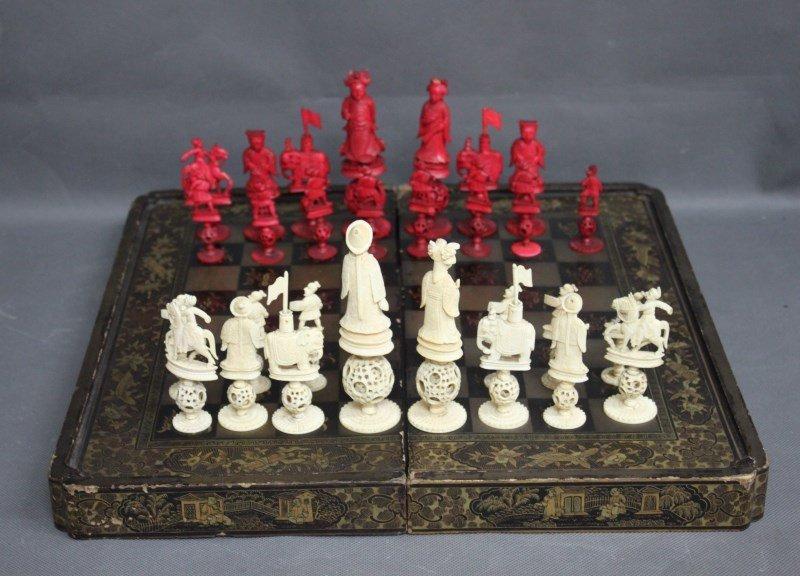 Good Chinese Export Ivory Chess Set