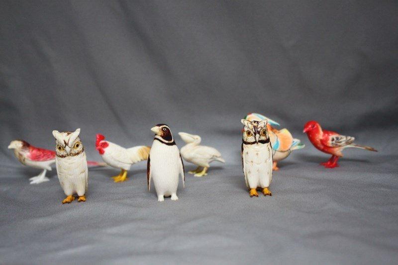 Set of Eight Japanese Coloured Ivory Birds,