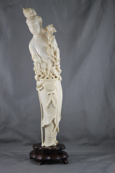 Good Chinese Carved Ivory Figure of Kwan Yin,