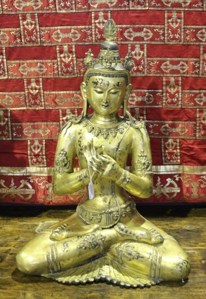 Stunning Large Qing Dynasty, Gilt Bronze Seated