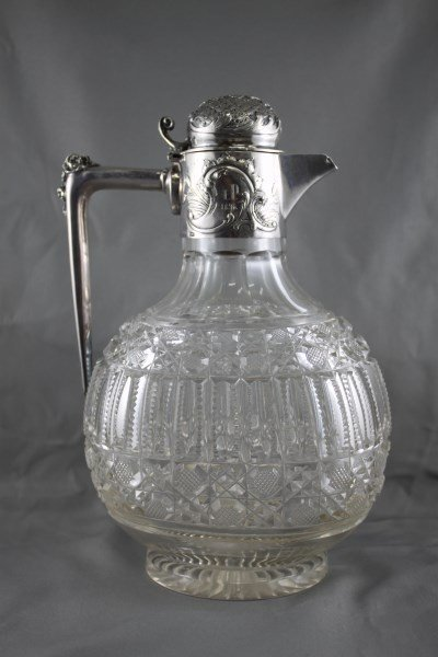 Beautiful Russian Silver and Crystal Claret Jug,