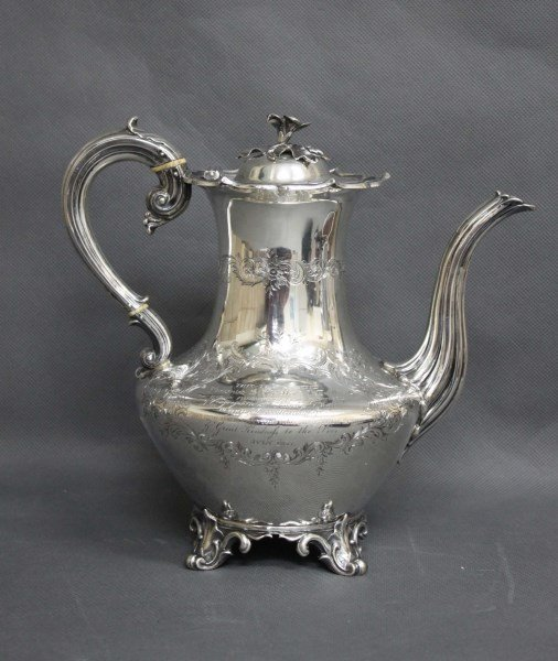 William IV/ Victorian Sterling Silver Coffee Pot,