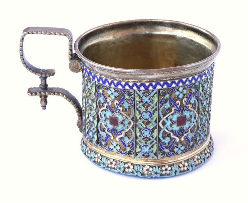 Good Russian Enamel and Silver Tea Glass Holder, c.1877