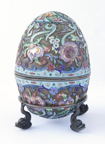 Good Russian Enamel and Silver Egg and Stand, c.1900,