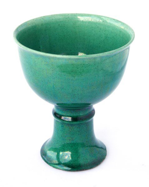 Good Chinese Early Qing Dynasty Green Glazed Wine