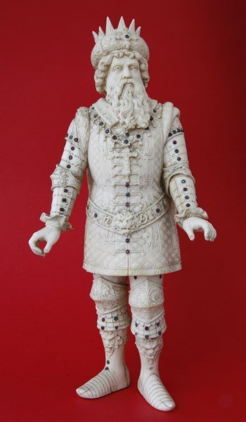 Rare German 19th Century Ivory and Jeweled Figure,
