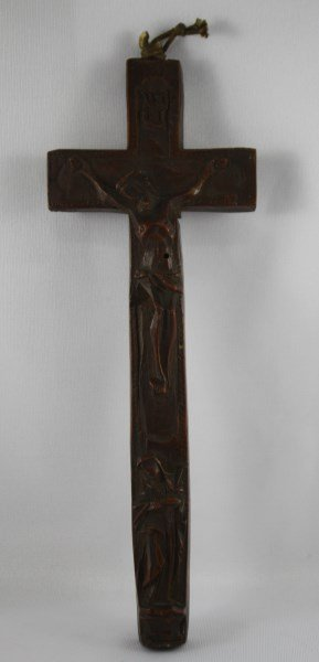 18th Century Carved Wooden Cross of Jesus and