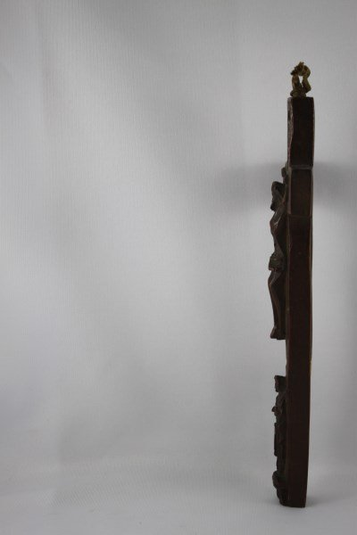18th Century Carved Wooden Cross of Jesus and - 2