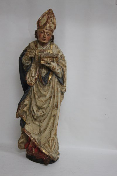 Rare German Gothic 16th Century Figure of Bishop, - 2