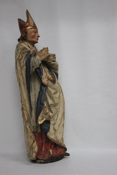 Rare German Gothic 16th Century Figure of Bishop, - 4