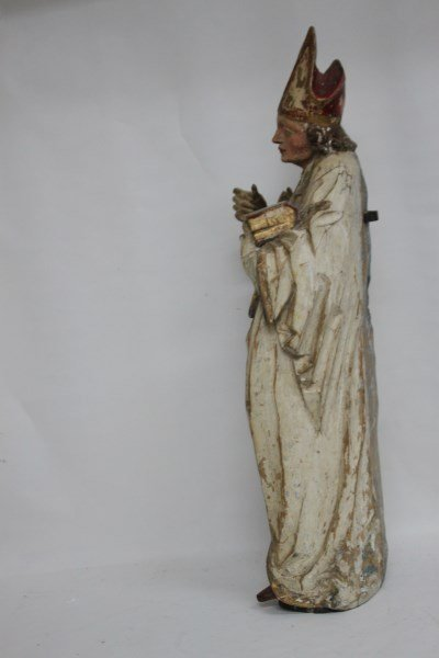 Rare German Gothic 16th Century Figure of Bishop, - 6