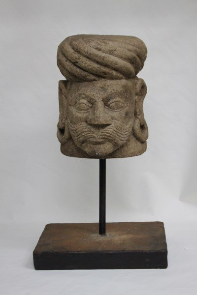 Large Indo Persian Carved Stone Head,