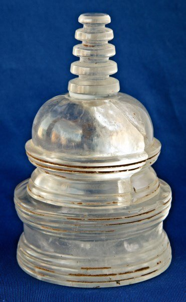 Rare Rock Crystal Reliquary in the Form of Stupa,