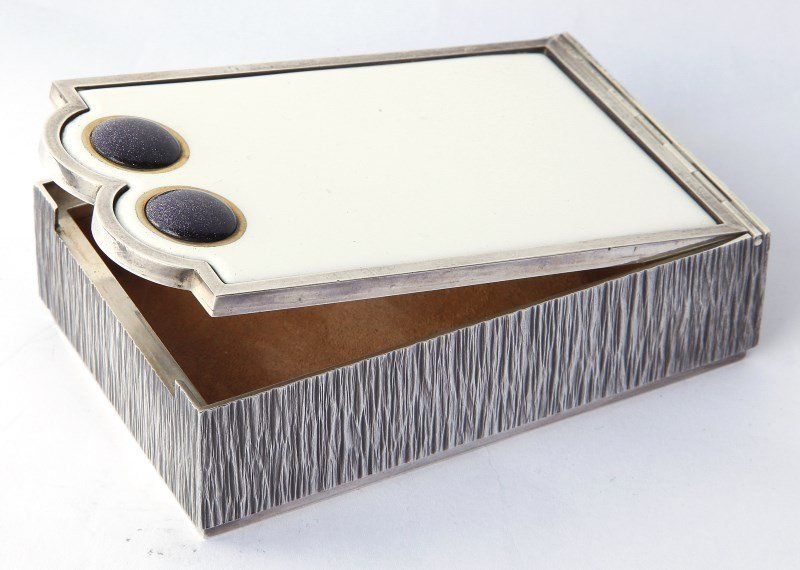 Gerald Benney Silver and Enamel Box and Cover,