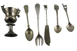 Two South American Silver Spoons and Goblet,