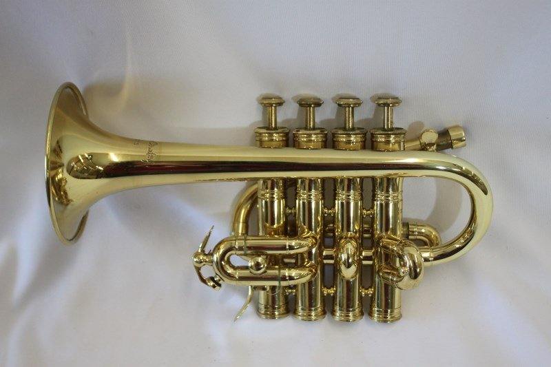 Gold Lacquered Piccolo Trumpet by Courtois,