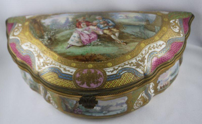 Sevres Style Porcelain Lidded Box,