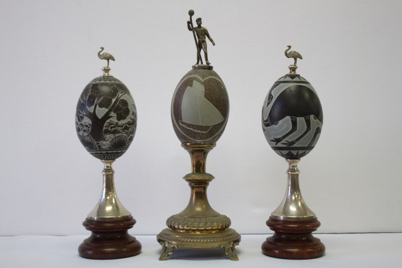 Pair of Mounted Carved Emu Eggs,