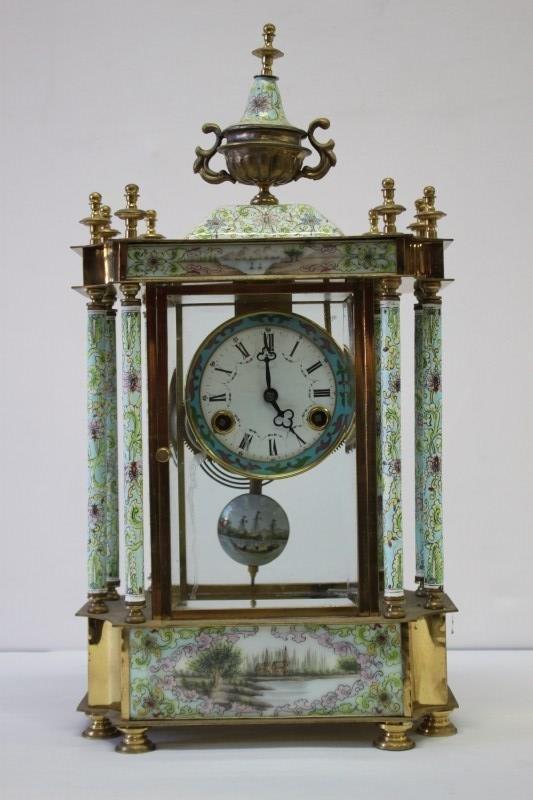 Chinese Enamel Mantle Clock,