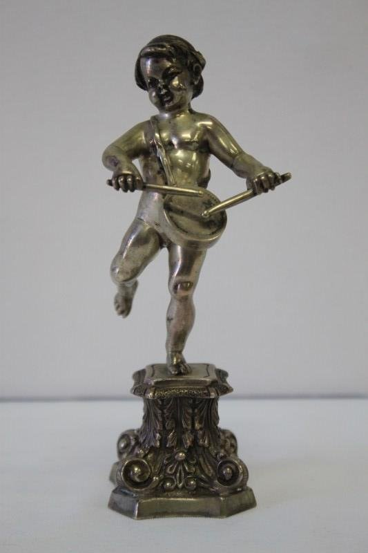 Continental Silver Putto with Drum,