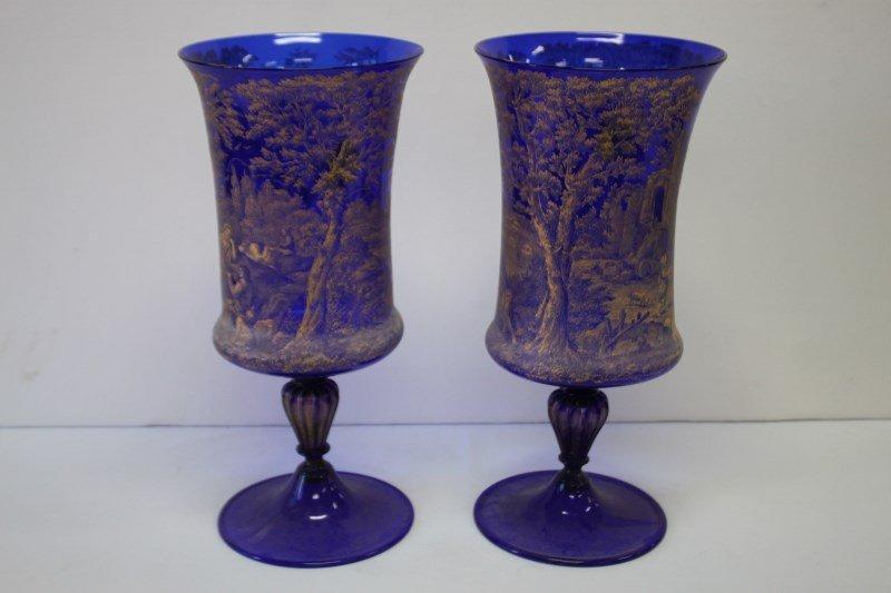 Large Pair of Italian Cobalt Glass Urns,
