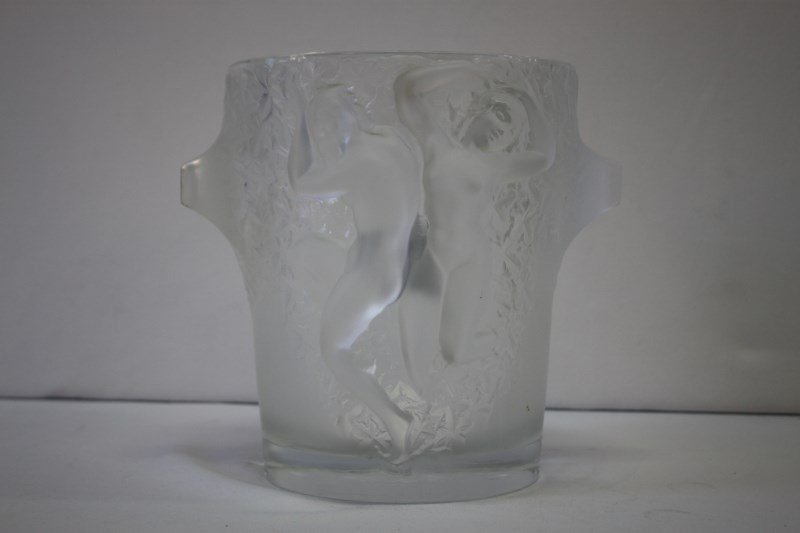 "Large Lalique Crystal ""Ganymede"" Ice Bucket,"