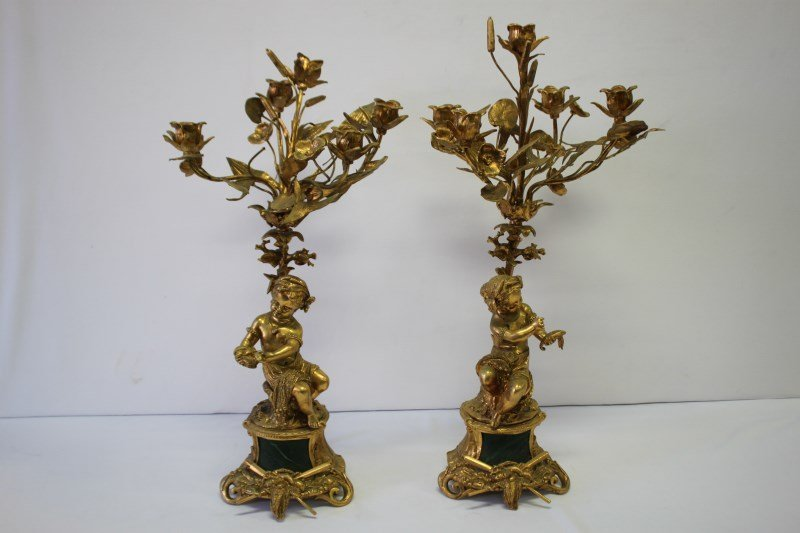 Pair of French Gilt Figural Candelabra,