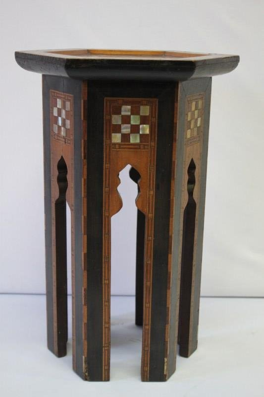 Beautiful Moroccan Inlaid Occasional Table, - 5