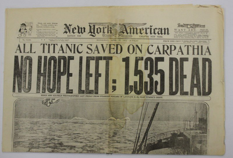 Titanic Memorabilia, including 1912 newspaper,