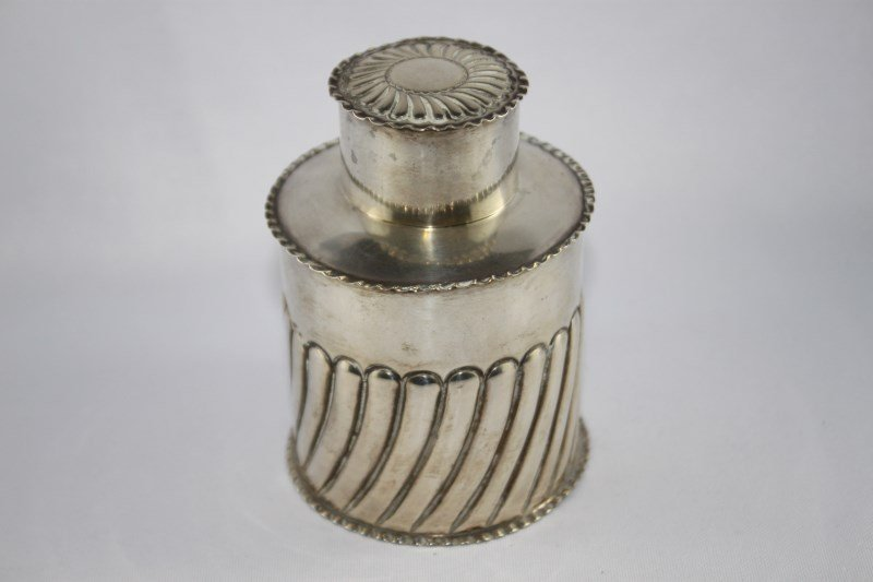 Edwardian Sterling Silver Tea Caddy and Cover,