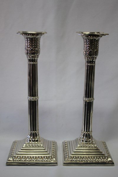 Pair of Victorian Sterling Silver Candlesticks,