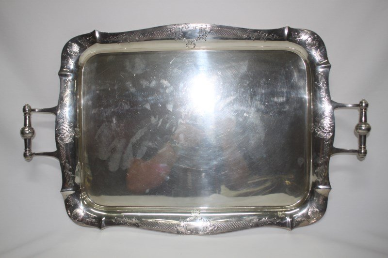 Large English Sterling Silver Twin Handed Tray,