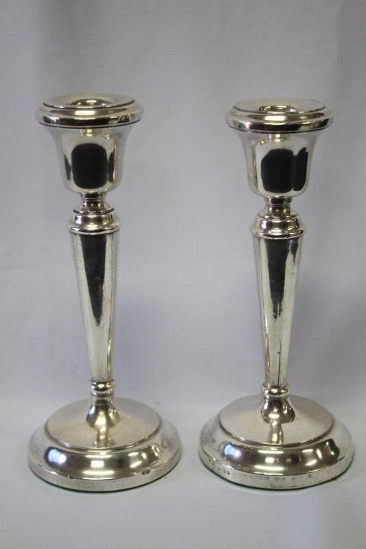 Pair of George V Sterling Silver Candlesticks,