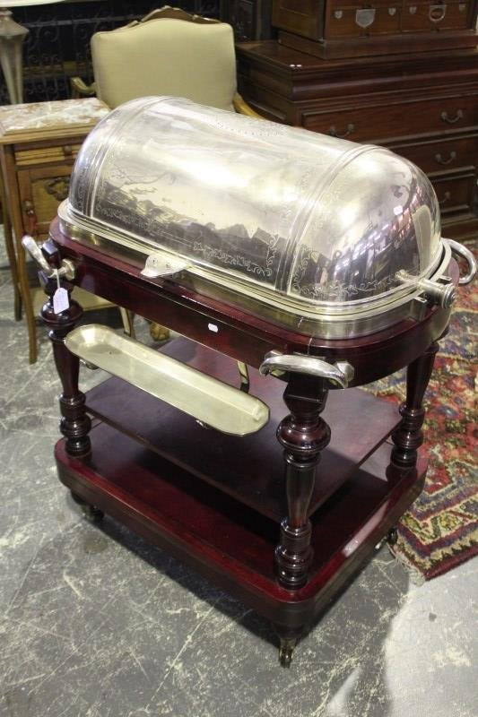 Superb Silver Plate Carving Trolley,