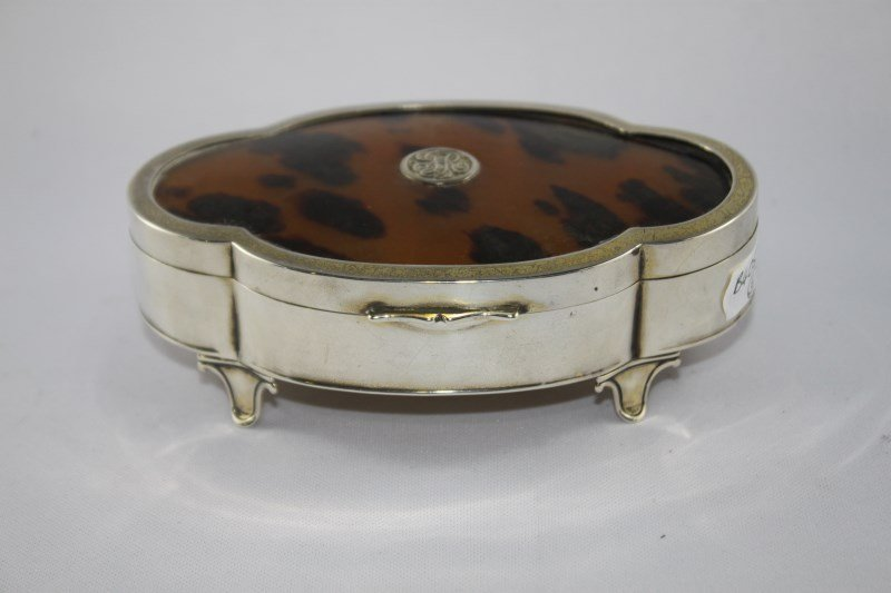 George V Sterling Silver and Tortoise Shell Box