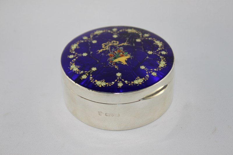 Edwardian Sterling Silver and Enamel Box and Cover