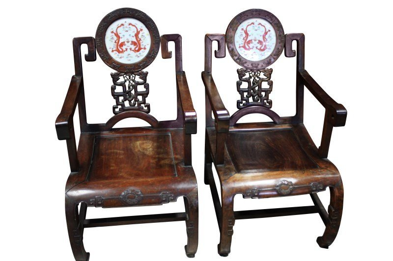 Important Pair of Chinese Late Qing Dynasty Armchairs,