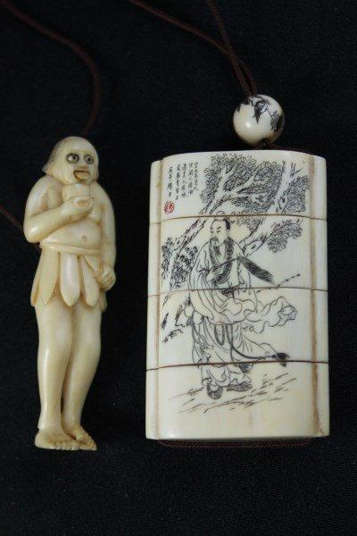 Japanese Ivory Shishi-Mai, Karakuri-Netsuke,