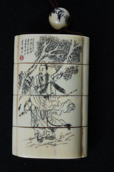 Japanese Ivory Shishi-Mai, Karakuri-Netsuke, - 2