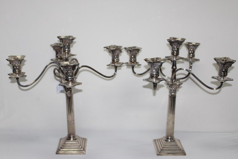 Pair of English Sterling Silver Candelabra,