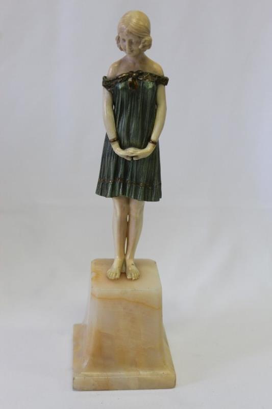 Wonderful Art Deco Bronze and Ivory Figure,