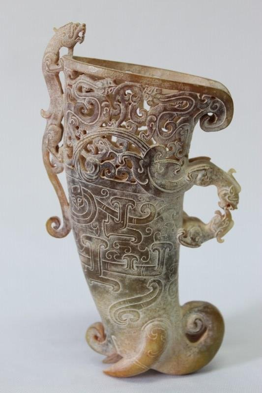 Superb Chinese Nephrite Jade Ritual Vessel,