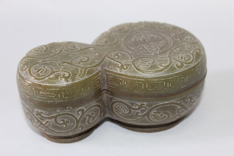 Chinese Nephrite Jade Box and Cover,