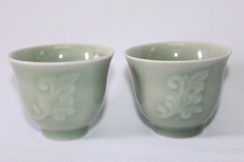 Pair of Chinese Celadon Wine Cups,