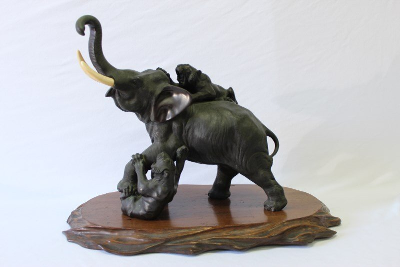 Japanese Meiji Period Bronze Animalia Group,