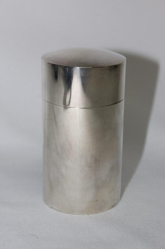 Australian Silver Cylindrical Lidded Jar,