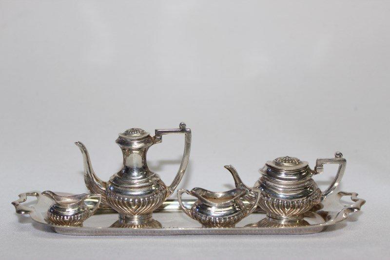 Miniature Silver Five Piece Tea Service,