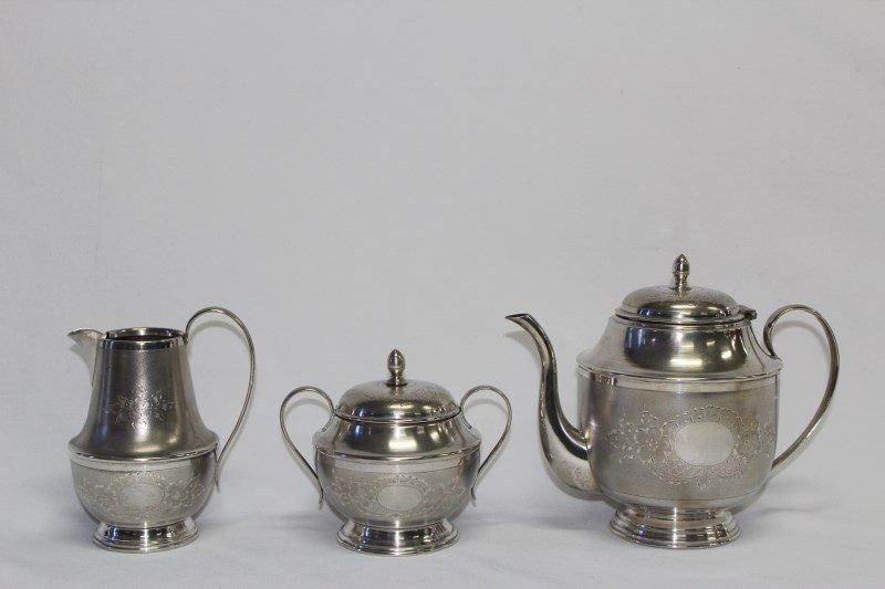 Egyptian Three Piece Silver Tea Service,